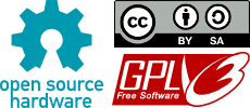 OSHW and GPLv3 logos
